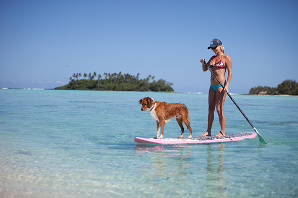 Standup paddling in the Cook Islands. Photo: Justin Bastien